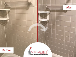 Before and After Picture of a Grout Recoloring Service in Arlington, VA
