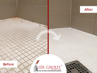 Before and After Picture of a Shower Grout Cleaning in Potomac, MD