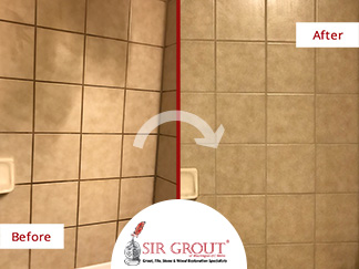 Before and After Picture of a Shower Grout Cleaning in Tenleytown, DC