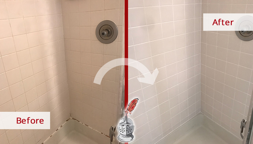 Before and After Picture of a Shower Caulking Service in Arlington, MD