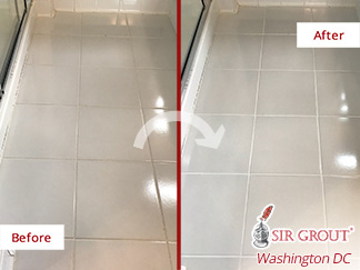 Before and after Picture of a Successful Grout Cleaning Job Done in Potomac, MD, That Brought Back to Life This Old Bathroom
