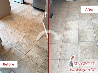 Before and after Picture of This Floor with a Stunning Restoration Thank to a Graout Cleaning Job in Potomac, MD