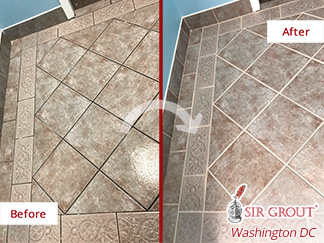 Before and After Picture of How This Commercial Building's Doorway Looks Perfect After a Grout Sealing Job in Rockville, MD