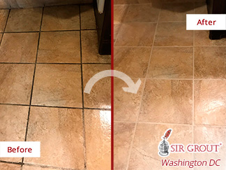 Before and after Picture of These Surfaces Restored Thank to a Grout Cleaning Job in Ashburn, VA