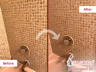 Before and after Picture of A Grout Cleaning Job Done to This Bathroom in Fairfax, DC