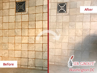 Before and after Picture of This Shower Restored Thank to a Grout Cleaning Job in Chevy Chase, MD