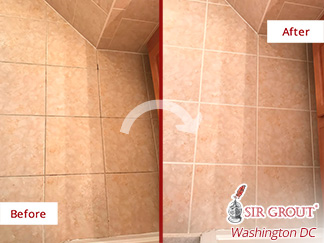 Before and after Picture of This Bathroom Fully Protected after a Grout Sealing Job in Arlington, VA
