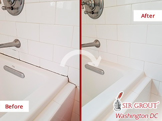 Before and after Picture of This Bath Tub after Our Caulking Services in Mclean, VA