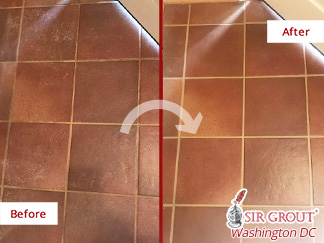 Before and after Picture of a Grout Cleaning Service in Chevy Chase, MD