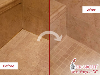 Before and after Picture of This Shower after a Caulking Job in Potomac, MD