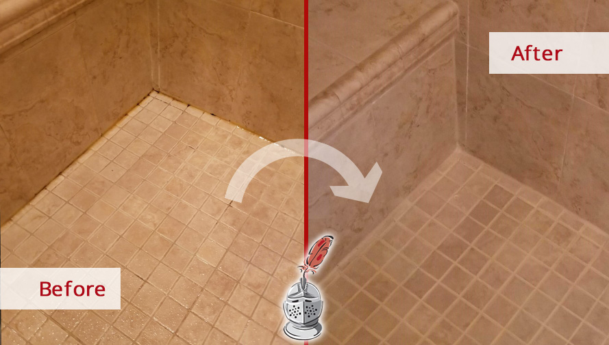 Before and after Picture of a Caulking Service to This Shower in Potomac, MD