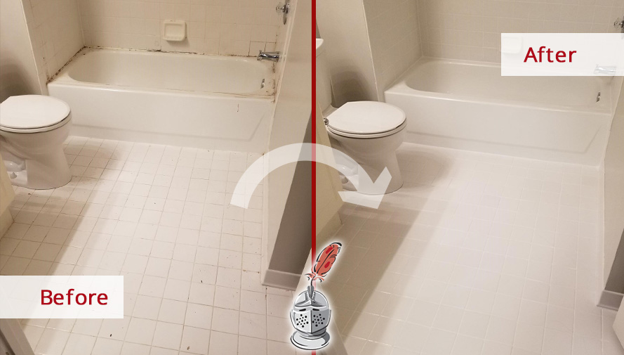 Before and After Picture of a Shower Tile Floor After a Grout Cleaning Service in Potomac