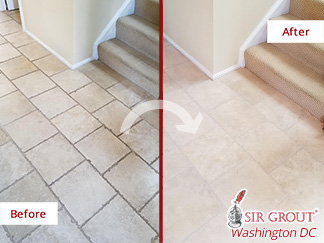 Picture of a Foyer's Before and After a Grout Cleaning Job in Reston, VA