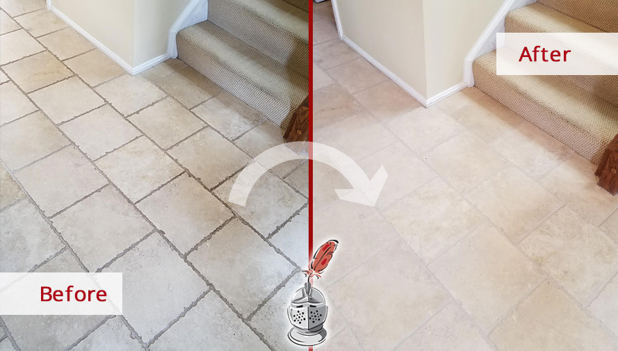 Before and After Picture of a Foyer's Floor Grout Cleaning Service in Reston, VA