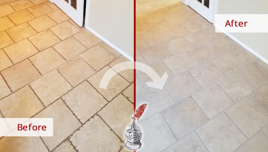 Picture of a Hallway Floor Before and After a Grout Cleaning Job in Reston, VA