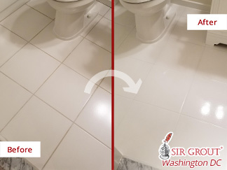 Before and After Picture of a Bathroom's Floor Grout Sealing Service in Leesburg, VA