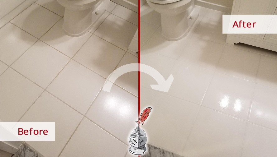 Bathroom Floor Before and After a Grout Sealing Job in Leesburg, VA