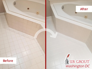 Before and After Picture of a Grout Sealing Service in a Master Bathroom Floor in Bethesda, MD