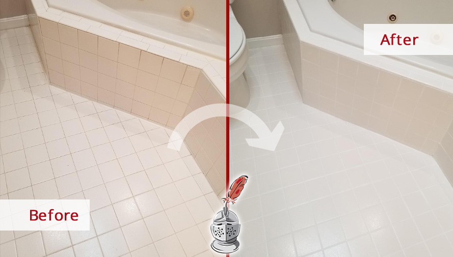Floor Before and After Picture of Our Grout Sealing Process in Bethesda, MD