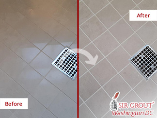 Before and After Picture of a Shower Floor Grout Sealing Job in Alexandria, VA