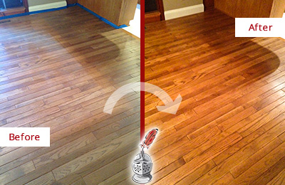 Before and After Picture of a Brandywine Wood Sand Free Refinishing Service on a Dull Floor to Recover Its Sheen