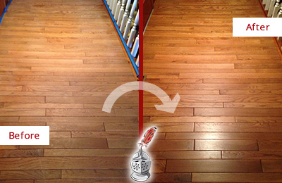 Before and After Picture of a Brandywine Wood Sand Free Refinishing Service on a Dull Hallway