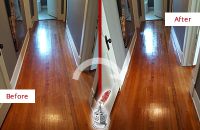 Before and After Picture of a Brandywine Wood Sand Free Refinishing Service on a Floor to Eliminate Scratches