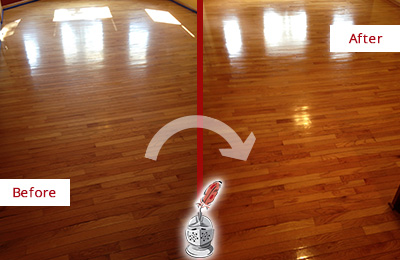 Before and After Picture of a Brandywine Wood Sand Free Refinishing Service on a Room Floor to Remove Scratches