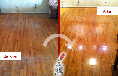 Before and After Picture of a Brandywine Wood Sand Free Refinishing Service on a Stained Floor