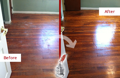 Before and After Picture of a Brandywine Wood Sand Free Refinishing Service on a Dull Floor to Remove Stains