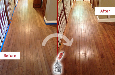 Before and After Picture of a Brandywine Wood Sand Free Refinishing Service on a Worn Out Floor
