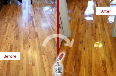 Before and After Picture of a Brandywine Wood Sand Free Refinishing Service on a Worn Out Hallway