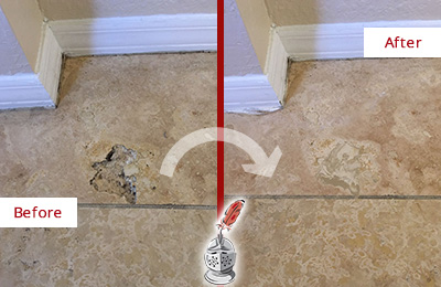 Before and After Picture of Marble Floor Restored to Repair Damage and Hole