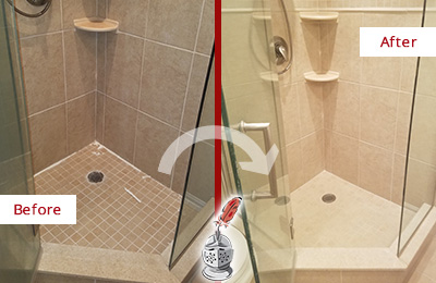Before and After Picture of a Caulking in the Joints of the Shower