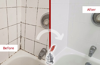 Before and After Picture of a Shower Grout Recoloring in a Bathtub Area