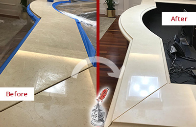 Before and After Picture of a Dull Travertine Front Desk