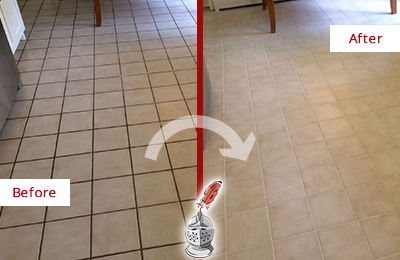 Before and After Picture of a Tile Kitchen Floor with Dirty Grout Lines