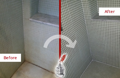 Before and After Picture of Mosaic Tile Bathroom Grout Recolored and Sealed to Recover Its Color