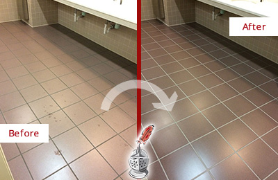 Before and After Picture of a Kensington Restrooms Tile and Grout Cleaned to Remove Embedded Dirt