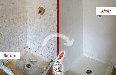 Before and After Picture of a Brandywine Shower Tile and Grout Cleaned to Remove Soap Scum