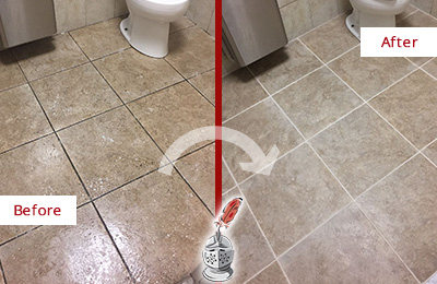 Before and After Picture of a Trinidad Restroom Tile and Grout Cleaned to Remove Soil