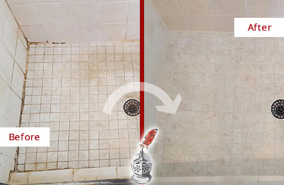 Before and After Picture of a Emergy Shower Caulked to Fix Cracks
