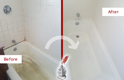 Before and After Picture of a Emergy Bathtub Caulked to Repair Cracks