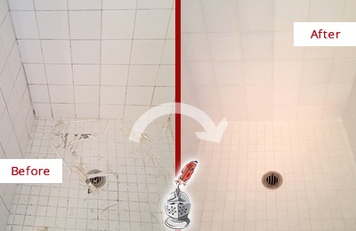Before and After Picture of a Emergy Bathroom Re-Caulked To Repair Damaged Caulking