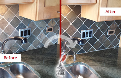 Before and After Picture of a Emergy Backsplash Caulked to Fix and Prevent Water Leaks