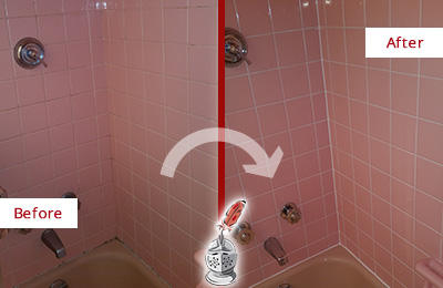 Before and After Picture of a Emergy Bathtub Caulked to Eliminate Mold