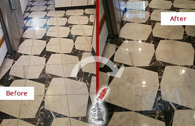 Before and After Picture of a Dull Gainesville Marble Stone Floor Polished To Recover Its Luster