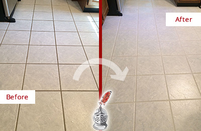 Before and After Picture of a Bethesda Kitchen Ceramic Floor Sealed to Protect From Dirt and Spills