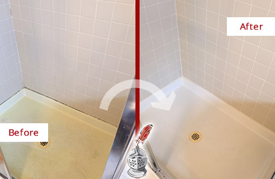 Before and After Picture of a Bethesda Shower Sealed to Remove and Protect Against Mold