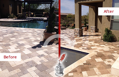 Before and After Picture of a Dull Great Falls Travertine Pool Deck Cleaned to Recover Its Original Colors